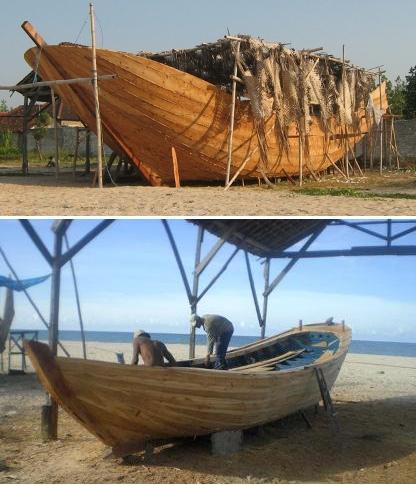 Kapal ikan dari kayu jati/mahogany, panjang 7-9m, lebar 1.1-1.4m, tinggi 0.8-1.1m