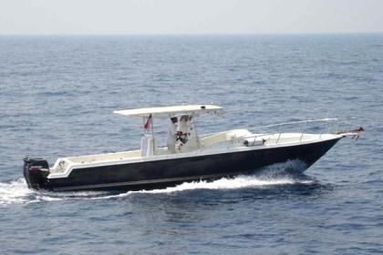 Fiber fishing boat Surabaya : P - 10.00m, L - 2.65m, T - 3.00m, outboard engine 2 x 140 HP