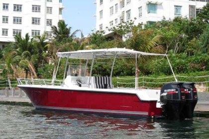 Fiber fishing boat Surabaya : P - 9.45m, L - 2.65m, T - 3.00m, outboard engine 2 x 250 HP
