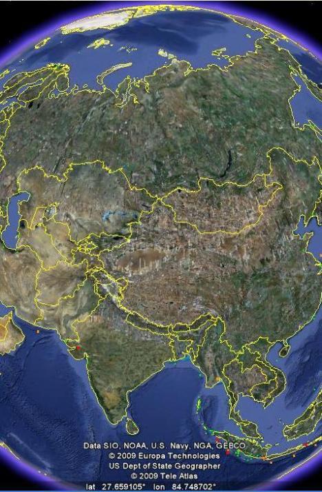 Eropa (Rusia), Asia Utara (Rusia, Cina), Asia Tengah dan Selatan miskin sekali Tsunami